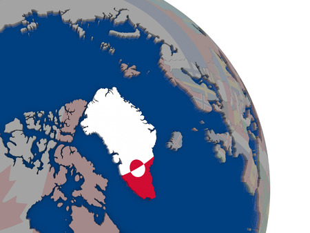 greenlandic: Greenland with embedded national flag on globe. Highly detailed 3D illustration with accurate flag colors and country borders Stock Photo