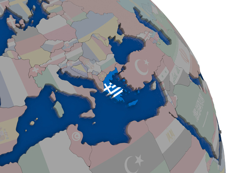 hellenic: Greece with embedded national flag on globe. Highly detailed 3D illustration with accurate flag colors and country borders
