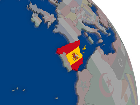 spaniard: Spain with embedded national flag on globe. Highly detailed 3D illustration with accurate flag colors and country borders Stock Photo