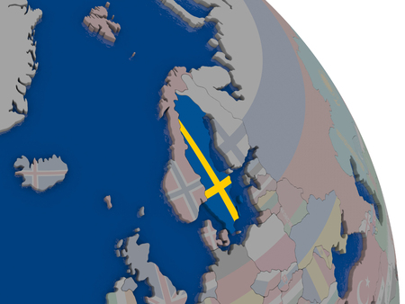 sverige: Sweden with embedded national flag on globe. Highly detailed 3D illustration with accurate flag colors and country borders