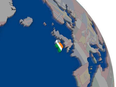 eire: Ireland with embedded national flag on globe. Highly detailed 3D illustration with accurate flag colors and country borders