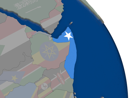 Somalia with embedded national flag on globe. Highly detailed 3D illustration with accurate flag colors and country borders Stock Photo