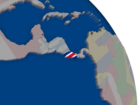 Costa Rica with embedded national flag on globe. Highly detailed 3D illustration with accurate flag colors and country borders