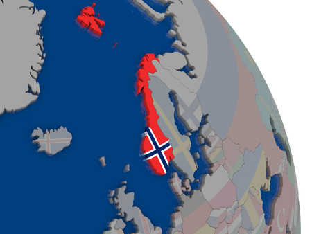 norway flag: Norway with embedded national flag on globe. Highly detailed 3D illustration with accurate flag colors and country borders Stock Photo