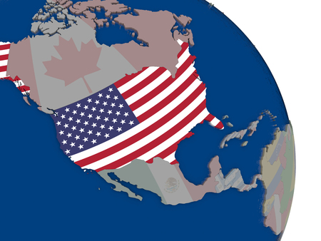 embedded: USA with embedded national flag on globe. Highly detailed 3D illustration with accurate flag colors and country borders Stock Photo