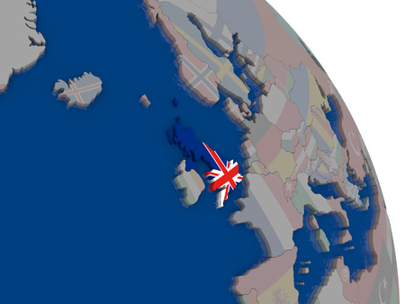United Kingdom with embedded national flag on globe. Highly detailed 3D illustration with accurate flag colors and country borders
