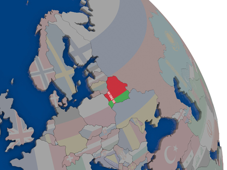 Belarus with embedded national flag on globe. Highly detailed 3D illustration with accurate flag colors and country borders
