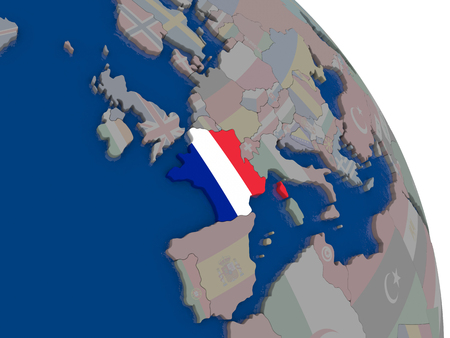 francaise: France with embedded national flag on globe. Highly detailed 3D illustration with accurate flag colors and country borders Stock Photo