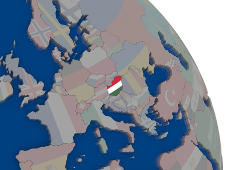 magyar: Hungary with embedded national flag on globe. Highly detailed 3D illustration with accurate flag colors and country borders