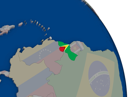 Guyana with embedded national flag on globe. Highly detailed 3D illustration with accurate flag colors and country borders