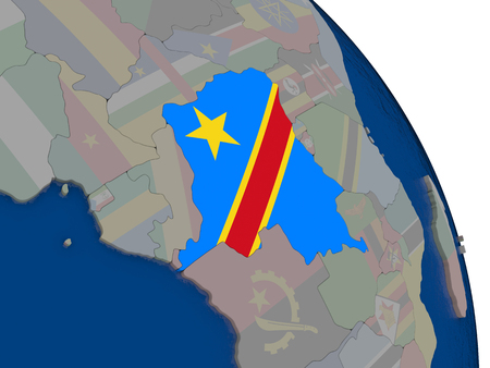 Democratic Republic of Congo with embedded national flag on globe. Highly detailed 3D illustration with accurate flag colors and country borders