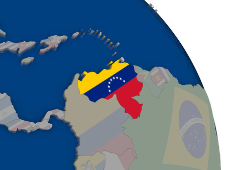 bandera de venezuela: Venezuela with embedded national flag on globe. Highly detailed 3D illustration with accurate flag colors and country borders
