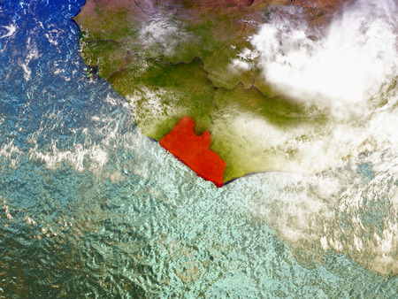 Liberia highlighted in red on illustrated globe with realistic ocean waters and clouds as seen from Earths orbit in space. 3D illustration with high level of detail.
