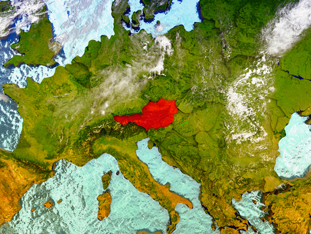 Austria highlighted in red on illustrated globe with realistic ocean waters and clouds as seen from Earths orbit in space. 3D illustration with high level of detail.