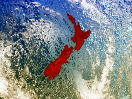 New Zealand highlighted in red on illustrated globe with realistic ocean waters and clouds as seen from Earths orbit in space. 3D illustration with high level of detail. Stock Photo