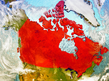 Canada highlighted in red on illustrated globe with realistic ocean waters and clouds as seen from Earths orbit in space. 3D illustration with high level of detail. Stock Photo