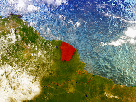 guiana: French Guiana highlighted in red on illustrated globe with realistic ocean waters and clouds as seen from Earths orbit in space. 3D illustration with high level of detail.