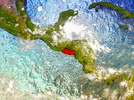 El Salvador highlighted in red on illustrated globe with realistic ocean waters and clouds as seen from Earths orbit in space. 3D illustration with high level of detail. Elements of this image furnished by NASA. Stock Photo