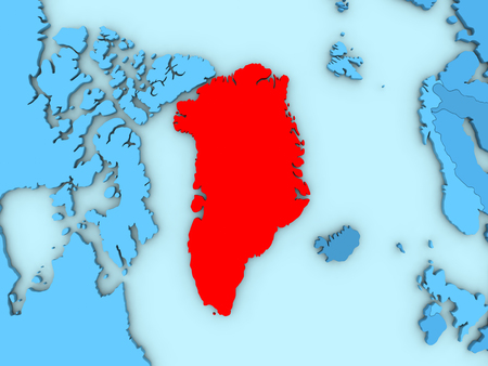 greenlandic: Country of Greenland highlighted in red on blue map. 3D illustration Stock Photo