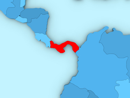 panamanian: Country of Panama highlighted in red on blue map. 3D illustration Stock Photo