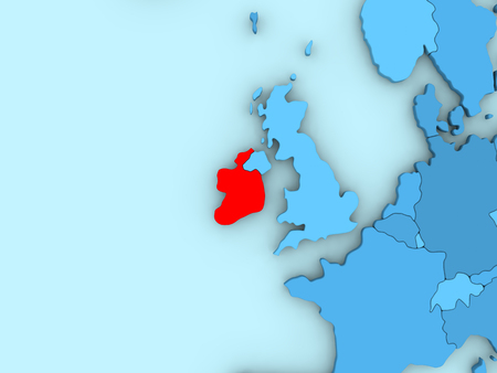 irish map: Country of Ireland highlighted in red on blue map. 3D illustration