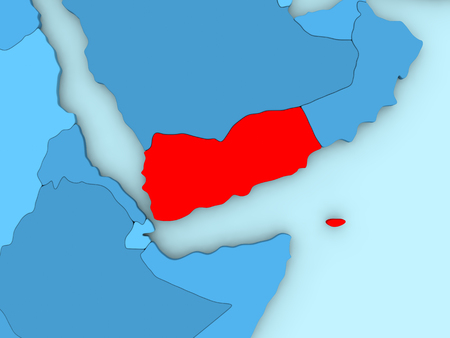 yemen: Country of Yemen highlighted in red on blue map. 3D illustration
