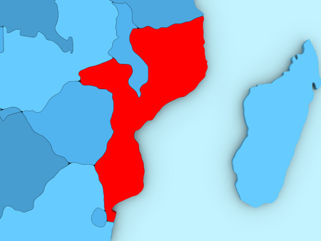 Country of Mozambique highlighted in red on blue map. 3D illustration