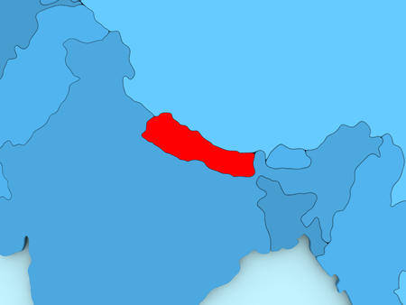 nepal: Country of Nepal highlighted in red on blue map. 3D illustration Stock Photo