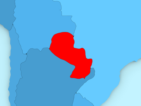 Country of Paraguay highlighted in red on blue map. 3D illustration Stock Photo