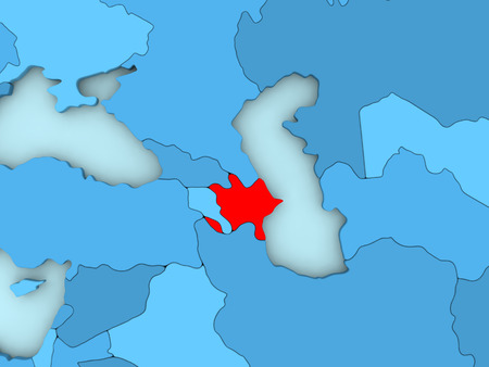 Country of Azerbaijan highlighted in red on blue map. 3D illustration Stock Photo