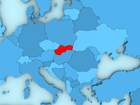 Country of Slovakia highlighted in red on blue map. 3D illustration