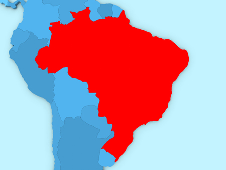 country of brazil highlighted in red on blue map 3d illustration
