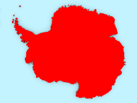 Country of Antarctica highlighted in red on blue map. 3D illustration Stock Photo