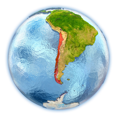 chilean: Chile highlighted in red on 3D globe with detailed planet surface and blue watery oceans. 3D illustration isolated on white background.