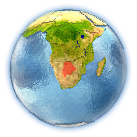 Botswana highlighted in red on 3D globe with detailed planet surface and blue watery oceans. 3D illustration isolated on white background.