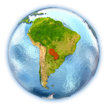Paraguay highlighted in red on 3D globe with detailed planet surface and blue watery oceans. 3D illustration isolated on white background.