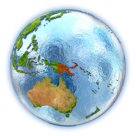 Papua New Guinea highlighted in red on 3D globe with detailed planet surface and blue watery oceans. 3D illustration isolated on white background. Stock Photo
