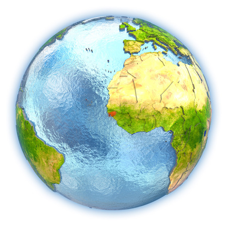 Guinea-Bissau highlighted in red on 3D globe with detailed planet surface and blue watery oceans. 3D illustration isolated on white background. Stock Photo