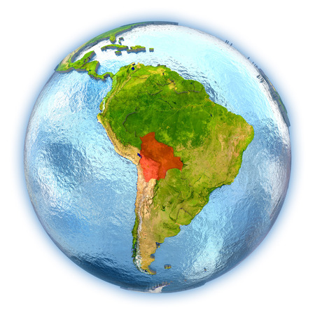 map bolivia: Bolivia highlighted in red on 3D globe with detailed planet surface and blue watery oceans. 3D illustration isolated on white background.