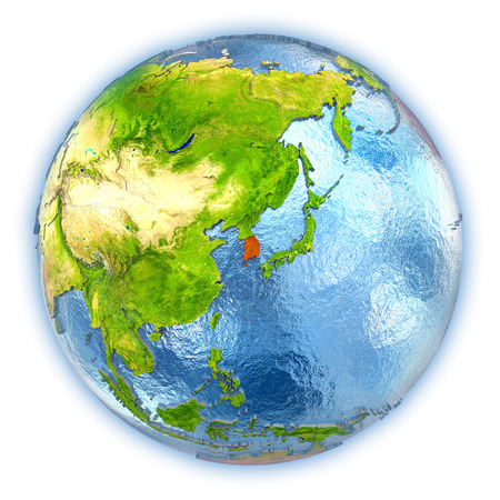 south asia: South Korea highlighted in red on 3D globe with detailed planet surface and blue watery oceans. 3D illustration isolated on white background.