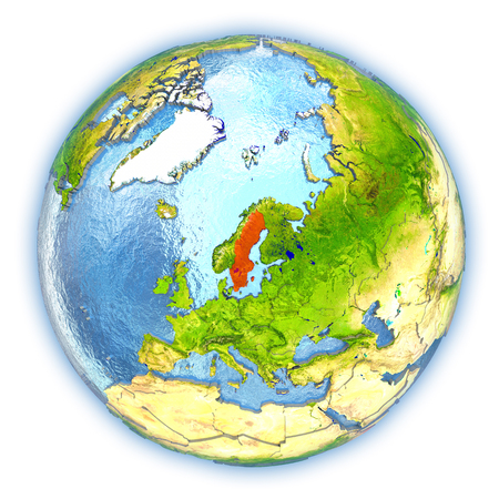 Sweden highlighted in red on 3D globe with detailed planet surface and blue watery oceans. 3D illustration isolated on white background. Stock Photo
