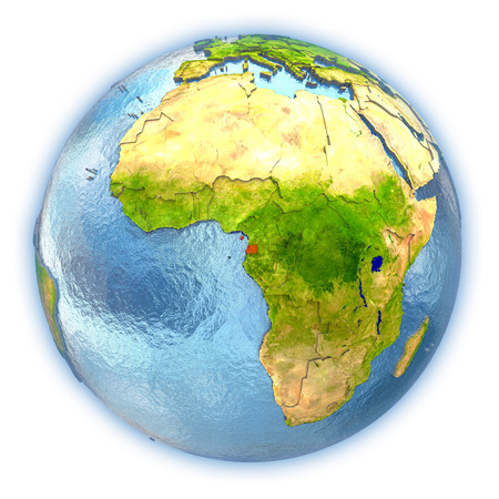 Equatorial Guinea highlighted in red on 3D globe with detailed planet surface and blue watery oceans. 3D illustration isolated on white background. Stock Photo
