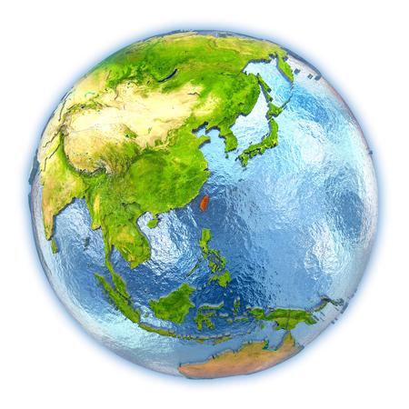 대만 상세한 행성 표면 및 푸른 물 바다와 3D 글로브에 빨간색으로 강조 표시합니다. 3D 그림 흰색 배경에 고립입니다.