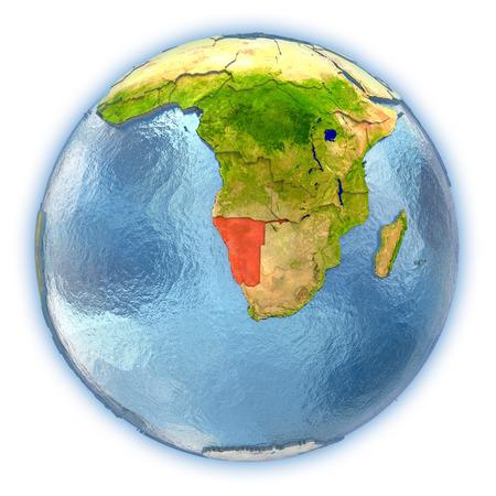 ナミビアの惑星の詳細な表面とブルーの 3 D 地球儀の赤で強調表示されます水の海。3 D の図は、白い背景で隔離。