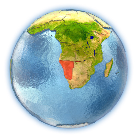 Namibia highlighted in red on 3D globe with detailed planet surface and blue watery oceans. 3D illustration isolated on white background.