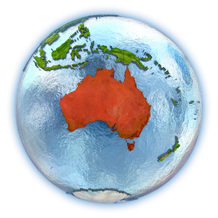 Australia highlighted in red on 3D globe with detailed planet surface and blue watery oceans. 3D illustration isolated on white background.