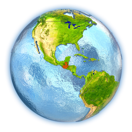 guatemalan: Guatemala highlighted in red on 3D globe with detailed planet surface and blue watery oceans. 3D illustration isolated on white background. Stock Photo
