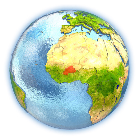 Burkina Faso highlighted in red on 3D globe with detailed planet surface and blue watery oceans. 3D illustration isolated on white background.
