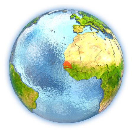 Senegal highlighted in red on 3D globe with detailed planet surface and blue watery oceans. 3D illustration isolated on white background.