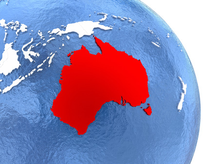 Australia highlighted in red on elegant silver globe with blue watery oceans. 3D illustration